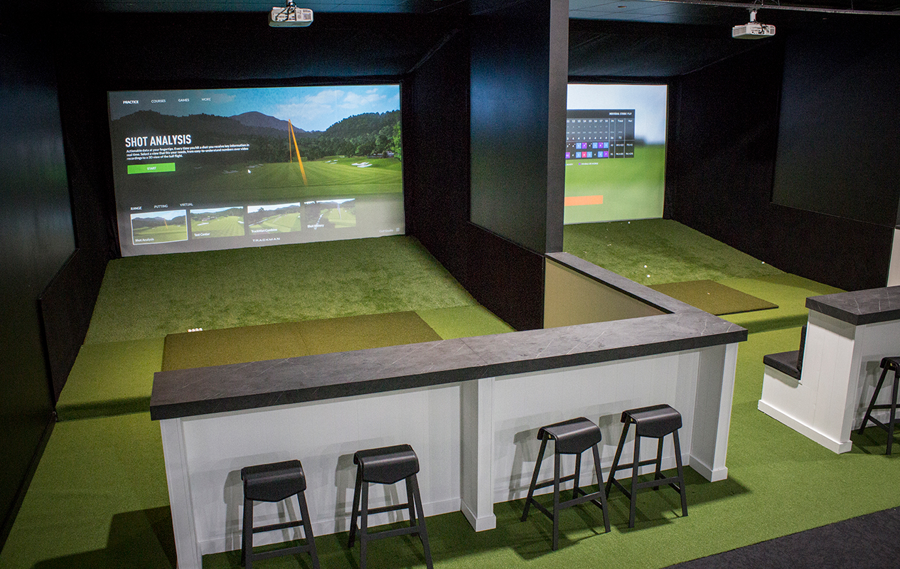 event space with golf simulators